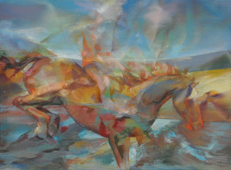 1979 Cavallo sull'acqua  olio su tela 30×40