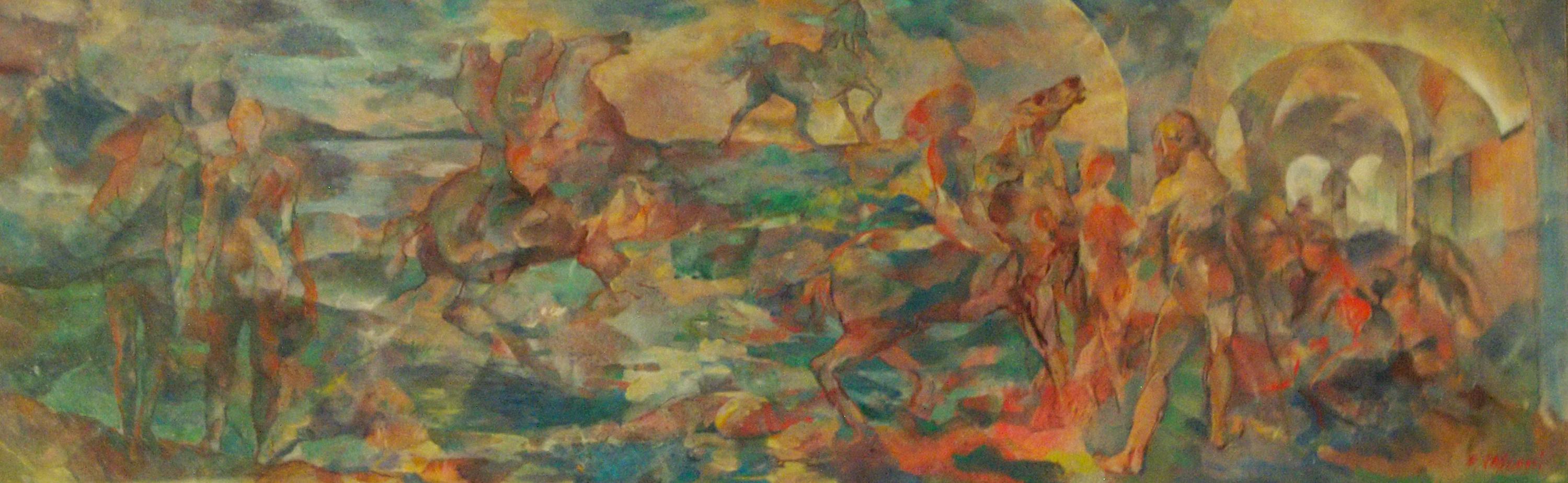 Bozzetto-per-parete-olio-su-masonite-30×95