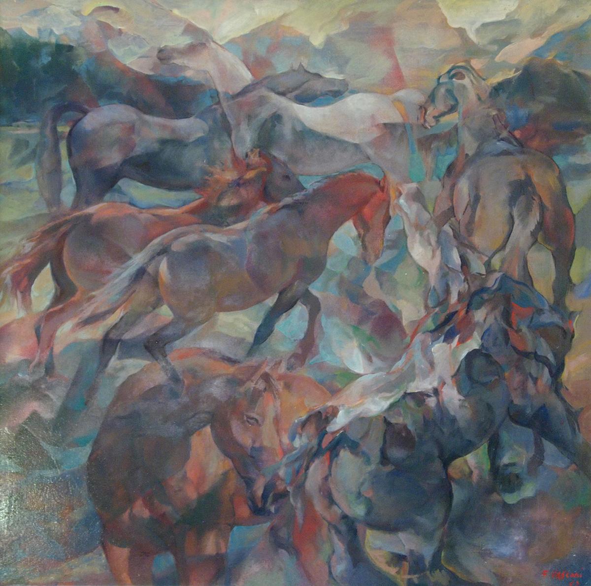 Cavalli olio su tela, 80×80
