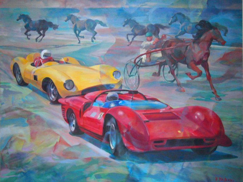 """Ferrari 500 TRC gialla """" Il pilota David Piper sulla 365 P2"""""""
